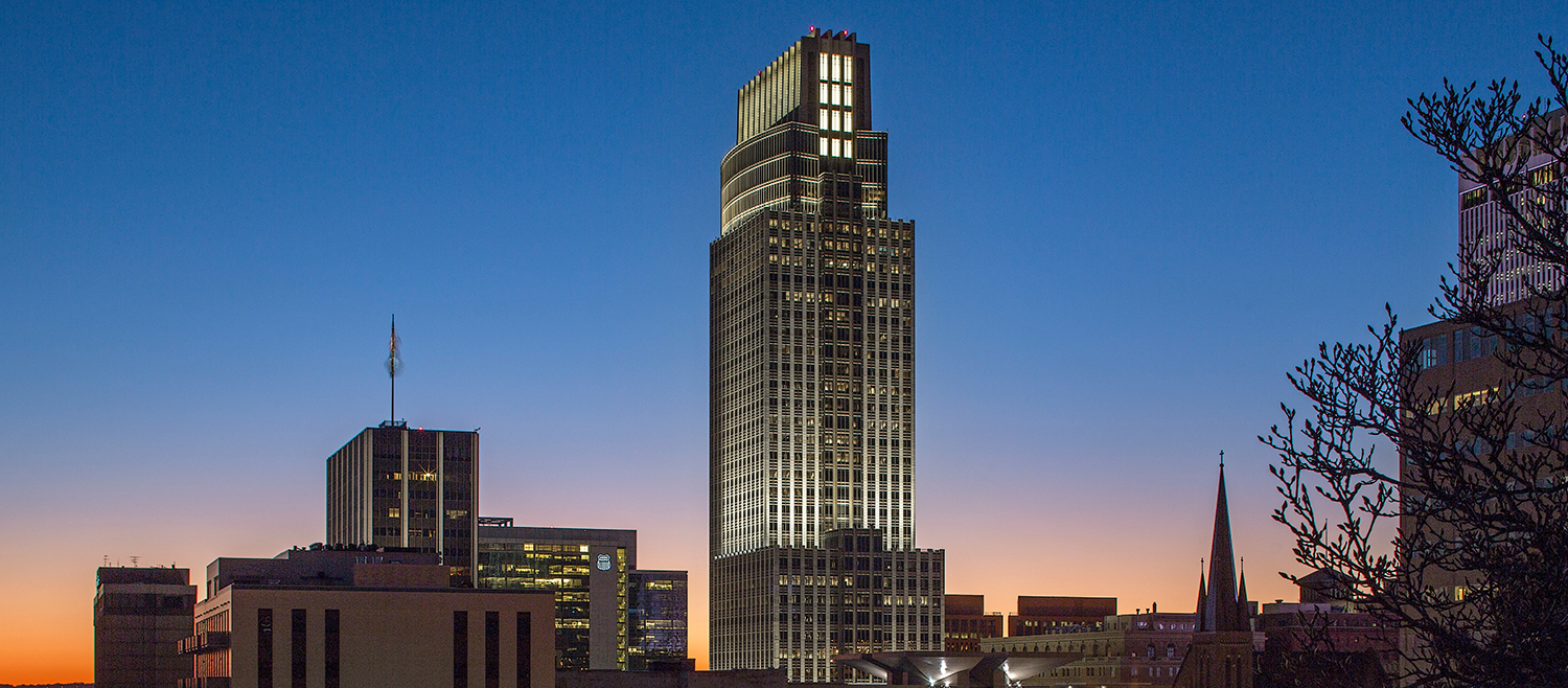 Morrissey Engineering was retained to provide the lighting design for the First National Bank Tower
